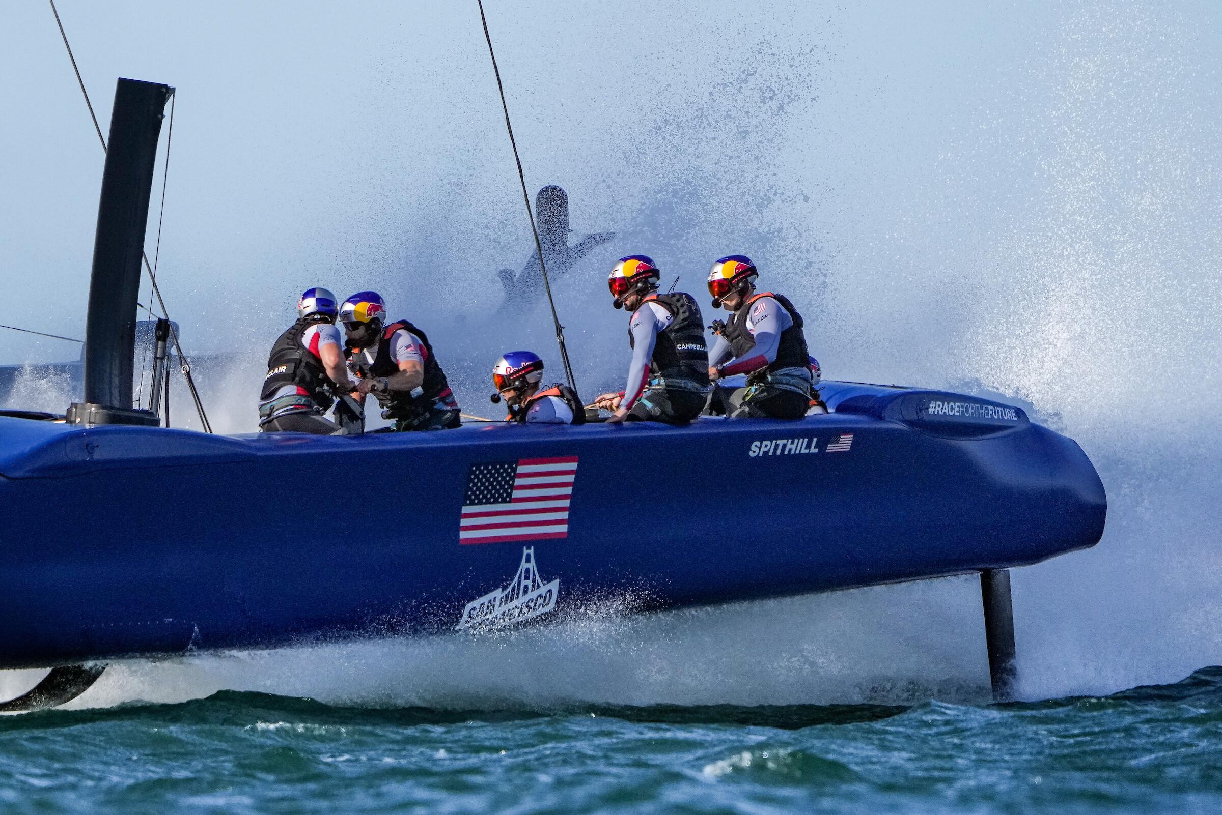 Team USA sailing, creating wash