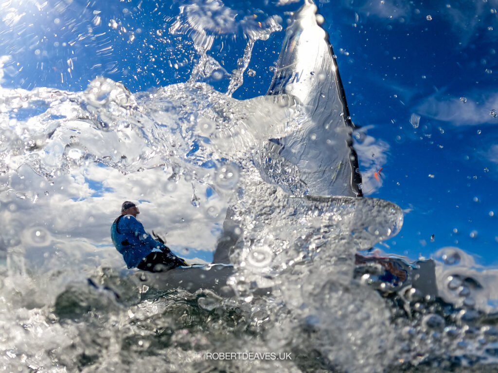 Kristian Sjoberg being photographed from the water.