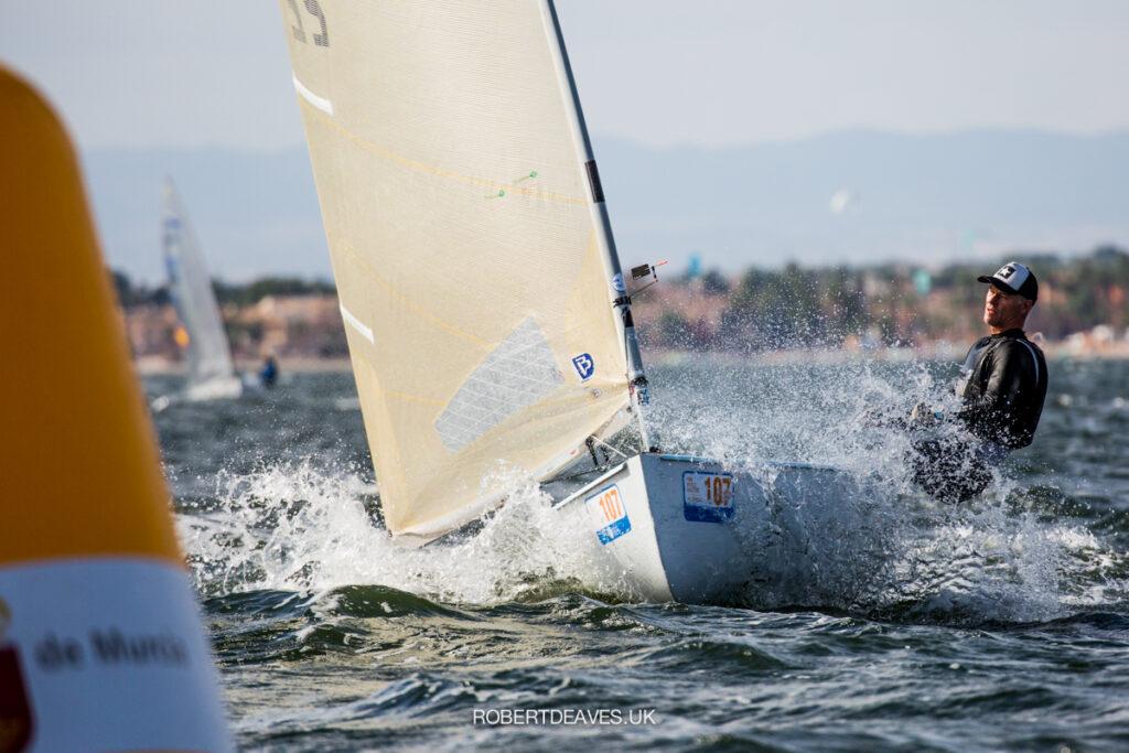 Paul McKenzie sailing towards a marker