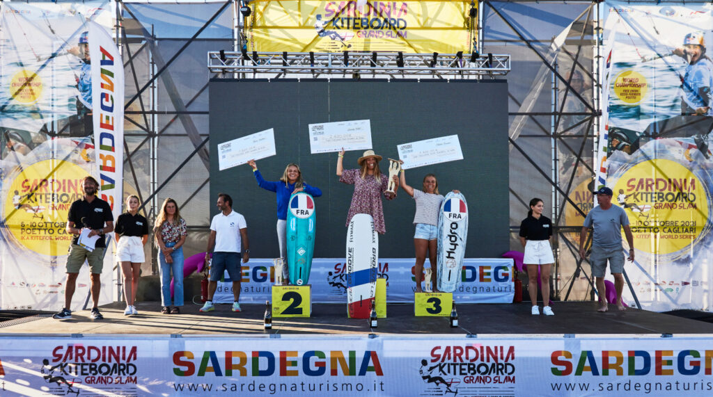 The top three females on the podium.