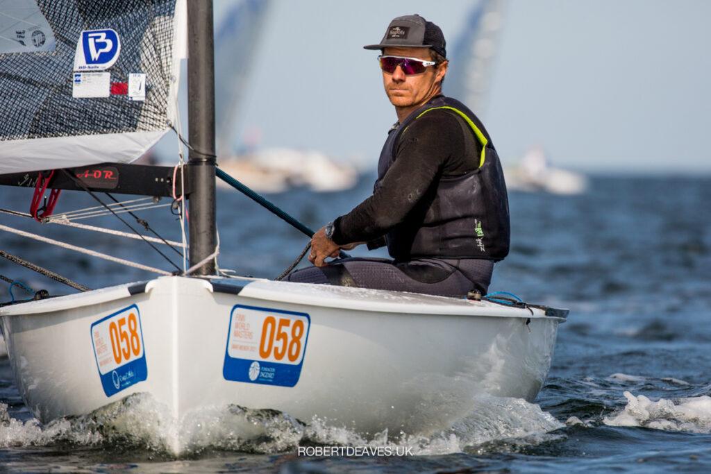 Valerian Lebrun sailing on a run.