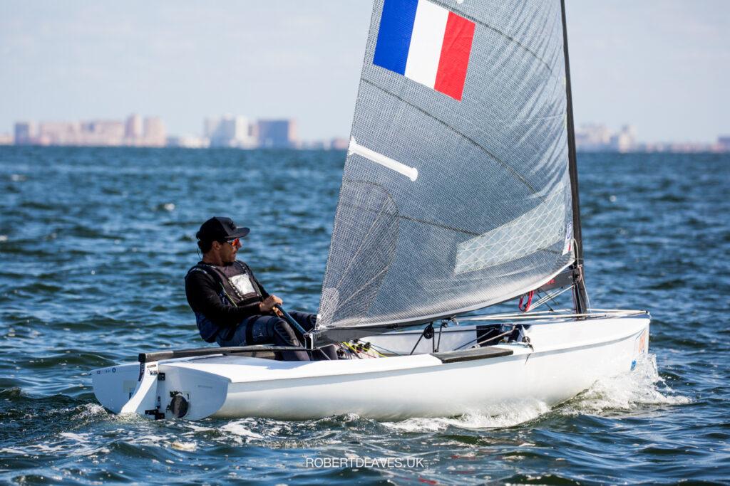 Valerian Lebrun sailing upwind
