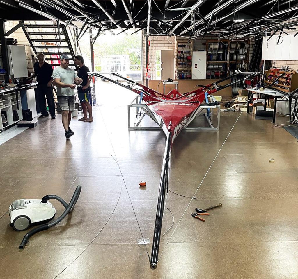 Team preparing Smeg in garage/loft