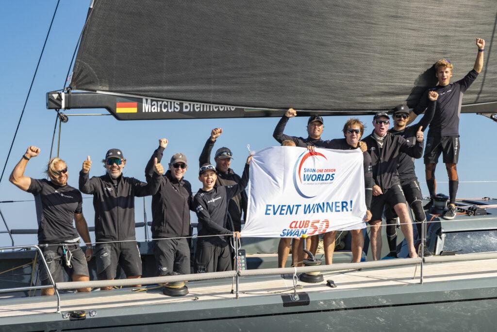 Hatari celebrating their win on the boat.