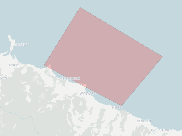 A drawing of the search area coloured in pink