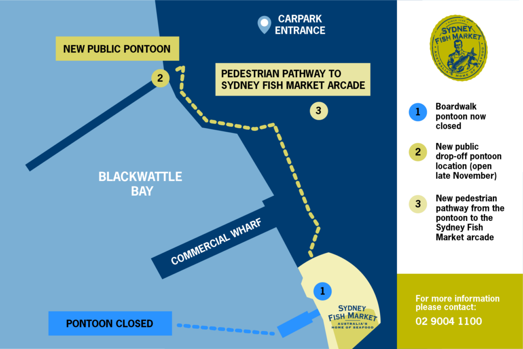 Map of the current wharf and where the new wharf will be.