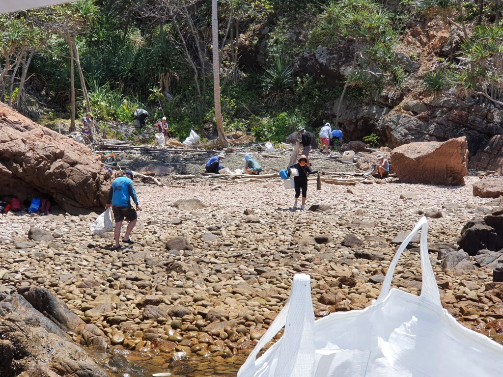 People picking up rubbish on a beach.