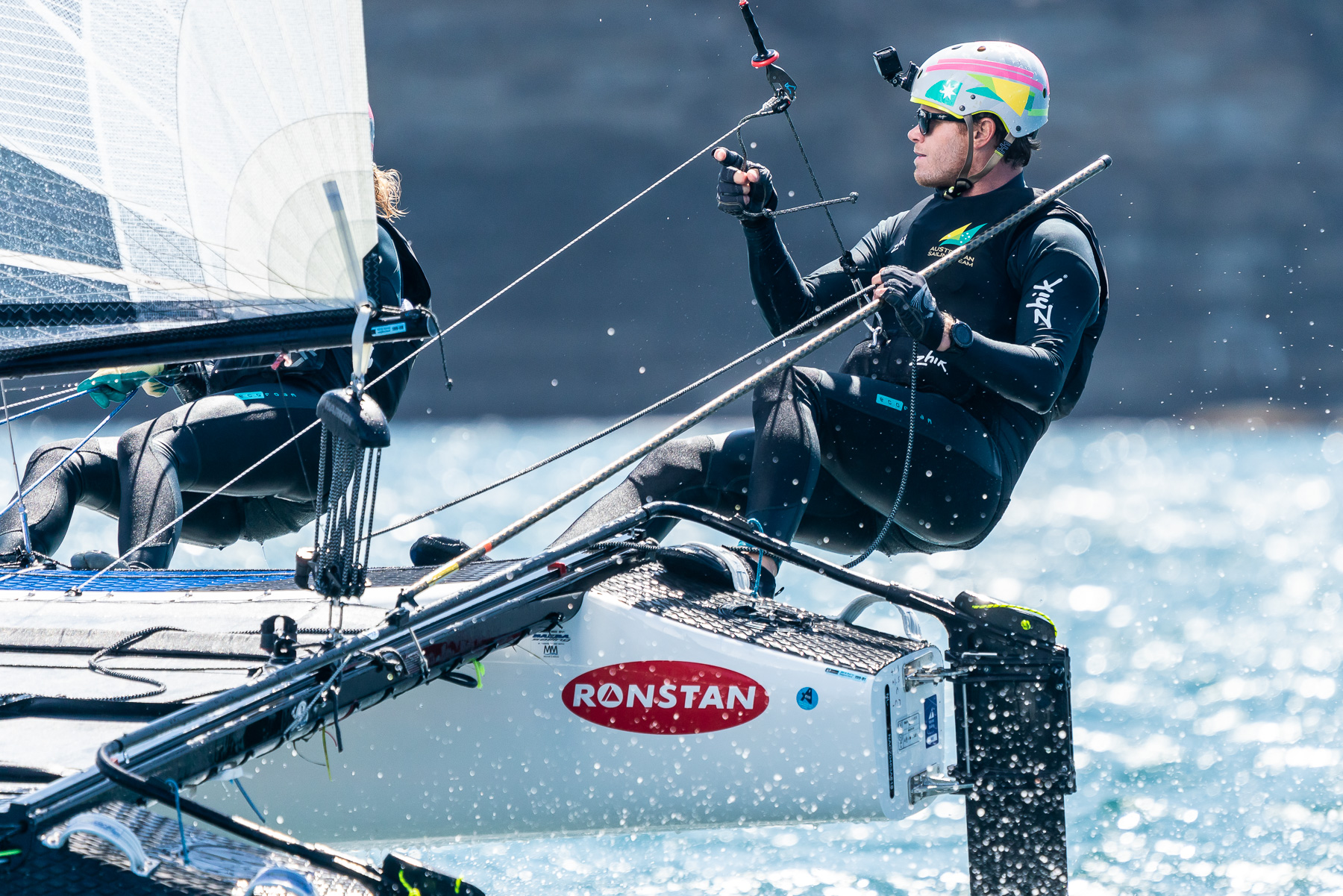 Nathan and Haylee Outteridge sailing downwind on the Nacra 17. Australian Sailing Team training at the National Training Centre in Sydney, Australia. Photo by Beau Outteridge.